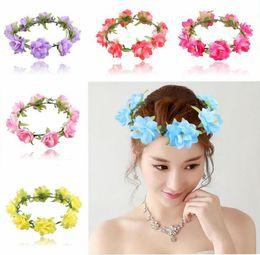 Wholesale Copper Wreath - Factory Price Travel jewelry Cloth Rose Flowers Hair Hoop Gifts headband Bride anadem wreath seaside garland hair jewellry