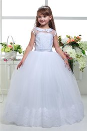 Wholesale Stylish Dresses For Girls - 2017 Newest Stylish Popular fashion first communion dresses for girls Appliques Long Flower Girl Dresses for weddings Occasion Popular Skirt
