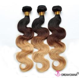 Wholesale Thick Brazilian Hair Bundles - Human Hair Ombre Body Wave Brazilian Hair Weaves Thick Bundles Three Tone 1B 4# 27# Ombre Virgin Human Hair Extensions 3Pcs Lot