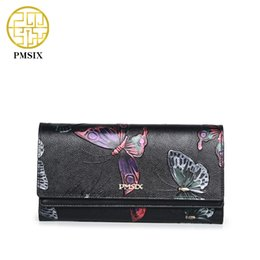 Wholesale Ladies Wallets Butterflies - Wholesale- Pmsix Top Layer Genuine Leather Women Clutch Wallet Butterfly Embossing Retro Ladies Clutch Money Bag P410007