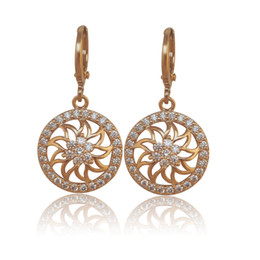 Wholesale Nickel Allergy Earrings - (392E) (Special price) Flower Dangle Earrings Jewelry Women 18K Gold Filled Lead & Nickel Free no Allergies