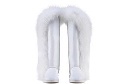 Wholesale Thigh High Boots Red Sale - 2016 new style women fashion real leather and fox fur boots sales high quality Brand design snow boots Winter shoes