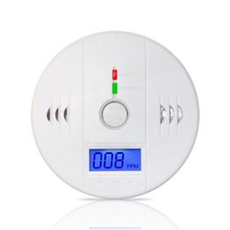 Wholesale Fire Carbon - 70pcs lot CO Carbon Monoxide Tester Alarm Warning Sensor Detector Gas Fire Poisoning Detectors LCD Display Home Safety Alarms