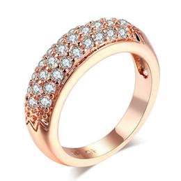 оптовые кольца стерлингового серебра Скидка Кубический цирконий обручальные кольца оптом розовое золото / серебро цвет Кристалл мода CZ камень свадебные украшения для женщин