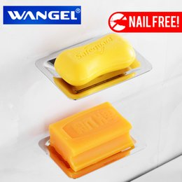Wholesale Modern Nail - Wangel Free Shipping Soap Holder Soap Box Soap Dish Soap Case Stainless Steel Modern Bathroom Accessorie Chrome Nail Free