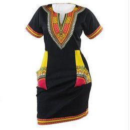 Wholesale Boho Hippie Clothes - 3XL Plus Size African Clothes Dashiki Dress For Women Casual Summer Hippie Print Dashiki Fabric Femme Boho Robe Femme Bodycon Midi Dresses