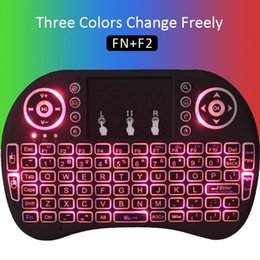 Wholesale Rii Mini i8 Wireless Keyboard Bluetooth Keyboards Touchpad game Fly Air Mouse Remote Control Multi media Handheld for T95Z TX2