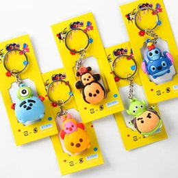 Wholesale Hottest Cartoon Women - Hot !100 pcs Popular Tsum Mickey Minnie Double-Edged Keychain Bag Pendant Children Toy Gifts Party Favors Mix 5 style