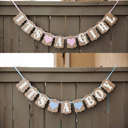 Wholesale photo banners - Wholesale- Baby Shower Banner It's A GIRL BOY Bunting Flags Photocall Party Decoration Photo Booth Props Free Shipping