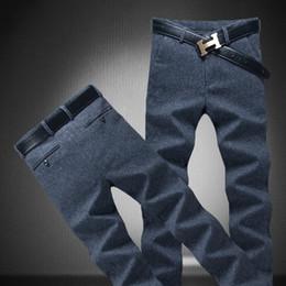 Wholesale Korean Men Trousers - Wholesale- New 2017 spring & Autumn Men's Clothing long casual pants Straight Korean male slim navy blue trousers plus size 38