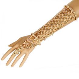 Wholesale Gold Slave Bracelets - Women Rhinestone Slave Bracelet With Ring Hand Chain Cuff Wedding Bridal Celebrity Trendy Belly Dancer Jewelry