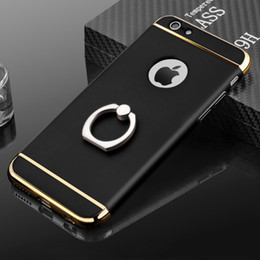 Wholesale Thick Phone Cases - For iPhone 6 6s Luxury Brand Hybrid Ring Marble Thick Phone Cases Cover for iPhone 6 6s Plus Case Smartphone MobilePhone