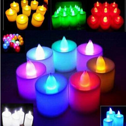 Wholesale Flameless Candle Wholesale - Electronic Flameless LED Candle 3.5*4.5 cm Battery Operated Flicker LED Tea Light Wedding Candles Birthday Party Christmas Decoration