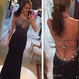 Wholesale Black Evening Gowns Diamonds - Gorgeous Sheath Halter Open Back Crystals Beaded Sequined Diamond Bling 2017 Prom Gown Black Evening Dresses Keyhole Sleeveless