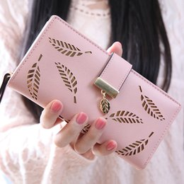 Wholesale Beautiful Women Photos - Wholesale- Hollow Out leaf Women Wallet long HASP PU leather women purse korean style ladies wallet clutch beautiful 2017 card holder