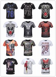 Wholesale Skeleton Skull Beads - 2017 NEW High Quality T-shirt Skull printed Skeleton men's Official sync 1: 1 Cotton shirts Short Sleeve new tops T shirt