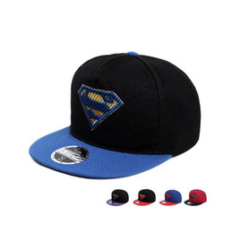Wholesale Superman Hanging - Free shipping New spring and summer hanging net flat along the baseball cap men and women embroidered superman hip hop hat DMB022