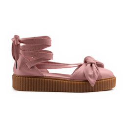 Wholesale Flat Leather Sandals For Women - With Dusty Bag Rihanna Fenty Bow Creeper Sandal For Women, Leadcat Fashion Friar Brown Pink Nude Outdoor Fenty Shoes Sandals Eur 35-40