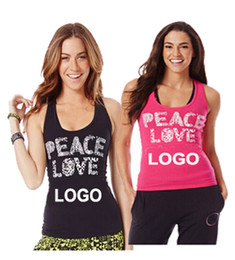 Wholesale Peace Clothes - Hot Fitness Wear Brand New samfitness clothes Women Tank tops vest peace love BLACK PINK
