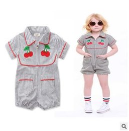Wholesale Cherry Shorts - Ins Baby Romper 2017 Summer Cherry Striped Zipper Rompers Girls Jumpsuit Newborn Toddler Infant Outwear Kids Clothes Ins Children Clothing