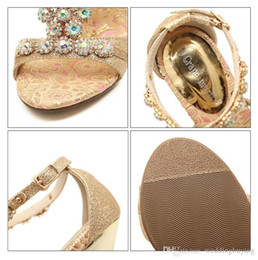 Wholesale Diamond Strap Heel Sandals - 2017 Hot Sexy auger peep-toe sexy hollow out shoes diamond fine follow sandal high heels Female shoes DHL free