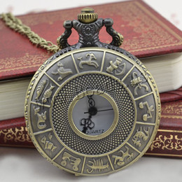 Wholesale Antique Jewelry Watches - Wholesale-2016 New Bronze Retro Pocket Watch Fashion Design zodiac jewelry Watches Necklace Pendant Gift Dropshipping