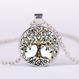 Wholesale Love Life Live - Alloy Vintage Living Tree of Life Glass Cabochon With Natural Stone Bronze Chain Pendant Necklace Nice Jewelry Accessary