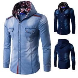 Wholesale winter jacket plus size - Winter Autumn Denim Jacket men hooded sportswear Outdoors Casual fashion Jeans Jackets Hoodies Cowboy Mens Jacket and Coat Plus Size M-3XL