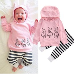 Wholesale Girls Pig Clothing - Newborn Baby Girls Outfits Animals Pig Hoodie Top +Pants Leggings Cute Children Clothing Toddler Long Sleeve Boutique Kid Clothes 0-2Y