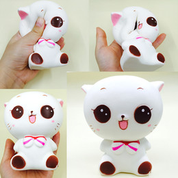 Wholesale Cat Toys Free Shipping - squishy wholesale 10pcs rare squishy jumpo kawaii cat squishy animal slow rising charm toys kids gift scented bread Free Shipping