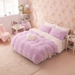 Wholesale Solid Color Quilted Bedding King - Wholesale-pink color bedclothes princess girls bedding set for Full-size bed velvet winter duvet cover sets without comforter bed sheet