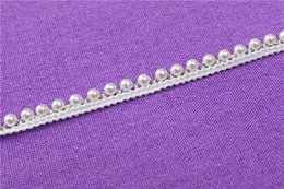 Wholesale White Lace Trim Fabric - Fake pearl beads embroidered lace trim ribbon for garment decoration and DIY craft collar lace trimming-Times