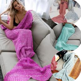 Aire acondicionado cubre online-Mantas de sirena de lana de cola mantas de tejer alfombra sofá cubre manta de aire acondicionado regalos de cumpleaños 4624-2