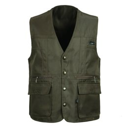 Wholesale Cheap Army Vests - Wholesale- Mens Outerwear Vests Photography Field Cheap Waistcoat Casual Travel Gilet With Many Pockets Black Army Green Jacket New Brand