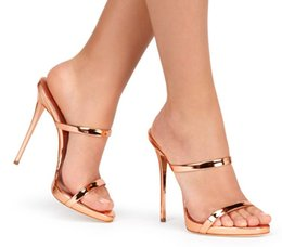 Wholesale Leather Sandals For Ladies - 2017 summer new style sexy high heels gold silver woman slippers fashion shoes for women lady sandals plus size