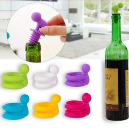 Wholesale Vacuum Saver - Wine Bottle Stopper Charms Gift Set Vacuum Saver Glass Marker Silicone Sealer Keep Freshness Bartender Bar Tool Wine Accessory CCA6433 30set