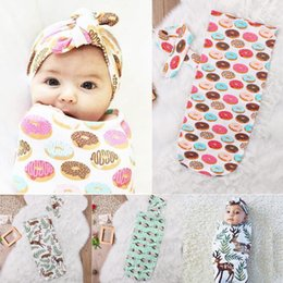 Wholesale Baby Blanket Small - Baby Sleeping Bags Headband Deer Donut Feather Print Children Cotton Swaddle Blankets Newborn Fashion Infant Set New
