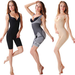 Wholesale Bamboo Slim Shaper - Wholesale- Women Gen Bamboo Charcoal Slimming Suits Pants Bra Bodysuit Body Shaper Underwears Bamboo Fiber Magic Slim Beauty Underwear