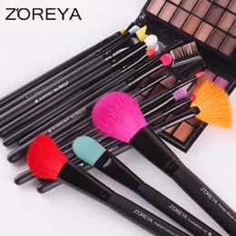 Wholesale Make Up Brushes Zoreya - Zoreya 15pcs Professional Makeup Brushes Goat Hair Concealer Eyeliner Blush Foundation Fan Make Up Brush Cosmetic Tool Maquiagem