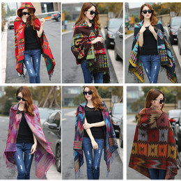Wholesale fringe cape - Wholesale-New Fashion Fringe Ethnic Geometric Women's Batwing Cape Poncho Knit Top Cardigan Sweater Coat Hip Scarf Shawl Free Shipping