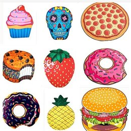 Wholesale Blue Sky Swimwear - Round Beach Towels Hamburger Pizza Donuts Strawberry Quick Drying Outdoor Sports Pads Swimming Camping Bath Yoga Mat Blanket Shawl Swimwear