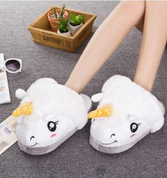Wholesale Cartoon Print Shoes Wholesalers - 2017 Selling New Women Men Winter Warm Slippers Casual Cute Home Indoor Cartoon Plush Unicorn Shoes Pantufas
