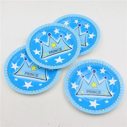 Wholesale Crown Baby Shower Favors - Wholesale-kids boys birthday decorations prince blue crown theme disposable paper plates cake dishes baby shower favors 10pcs lot