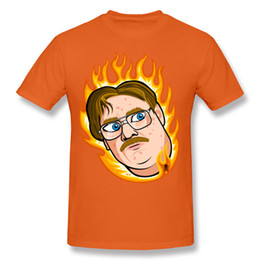 Wholesale Sale Boys Tshirts - Fire around neck mens unique design cartoon tshirts vivid orange color for summer hot sale trend tees for man Milton Waddams glasses boy