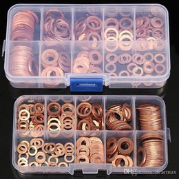 Wholesale Hardware Assortment - 200pcs Professional M5-M14 Assorted Copper Washer Gasket Set Flat Ring Seal Assortment Kit with Box For Hardware Accessories