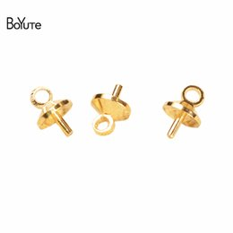Wholesale Metal End Caps - BoYuTe 200Pcs HOT sale Metal Brass Gold Rhodium Tone Bail Connector Pearl Bead Caps Diy Jewelry Accessories