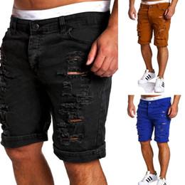Wholesale jeans water - Wholesale- Black Ripped Jeans Men 2017 Brand Short Biker Denim Jeans Summer Casual Slim Fit Water Washed Cotton Straight Men Short Jeans
