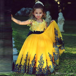 Wholesale Cheap Baby Caps - Hot Yellow Little Flower Girls Pageant Dress 2017 Applique Lace Tulle Pageant Lace Cheap Baby Ball Gown Kid Party Girls Dresses