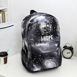 Wholesale Korean Backpacks School Bags Canvas - Wholesale- Bangtan Boys BTS backpack,korean kpop stars school bag , boys girls book laptop satchel ,V,Rap Monster,JIN,SUGA