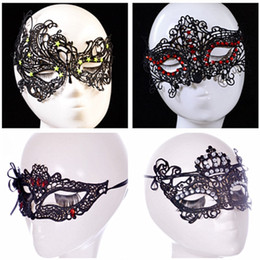 Wholesale Sexy Cheap Cosplay Costumes - Fashion Cheap Sexy Black Lace Party Masks With Jewellery Ladies Girl Halloween Xmas Cosplay Costume Dancing Valentine Birthday Mask 4 Types